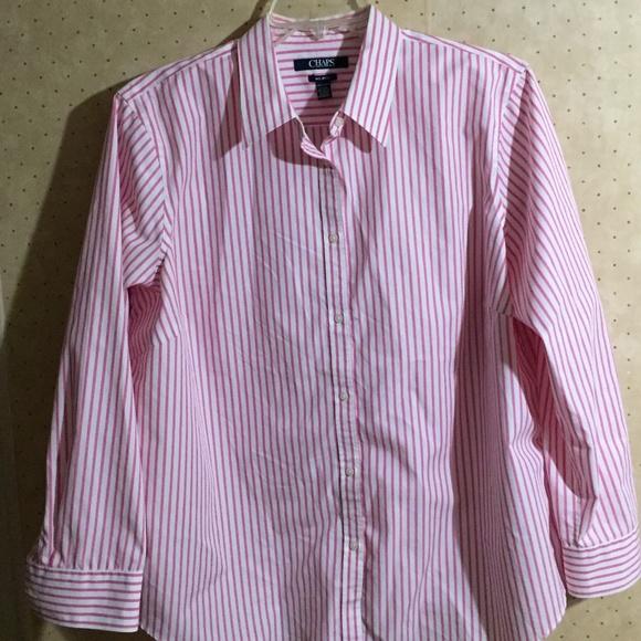 004a132ecdb Chaps Tops - chaps no iron blouse pink pinstripe 2x button down